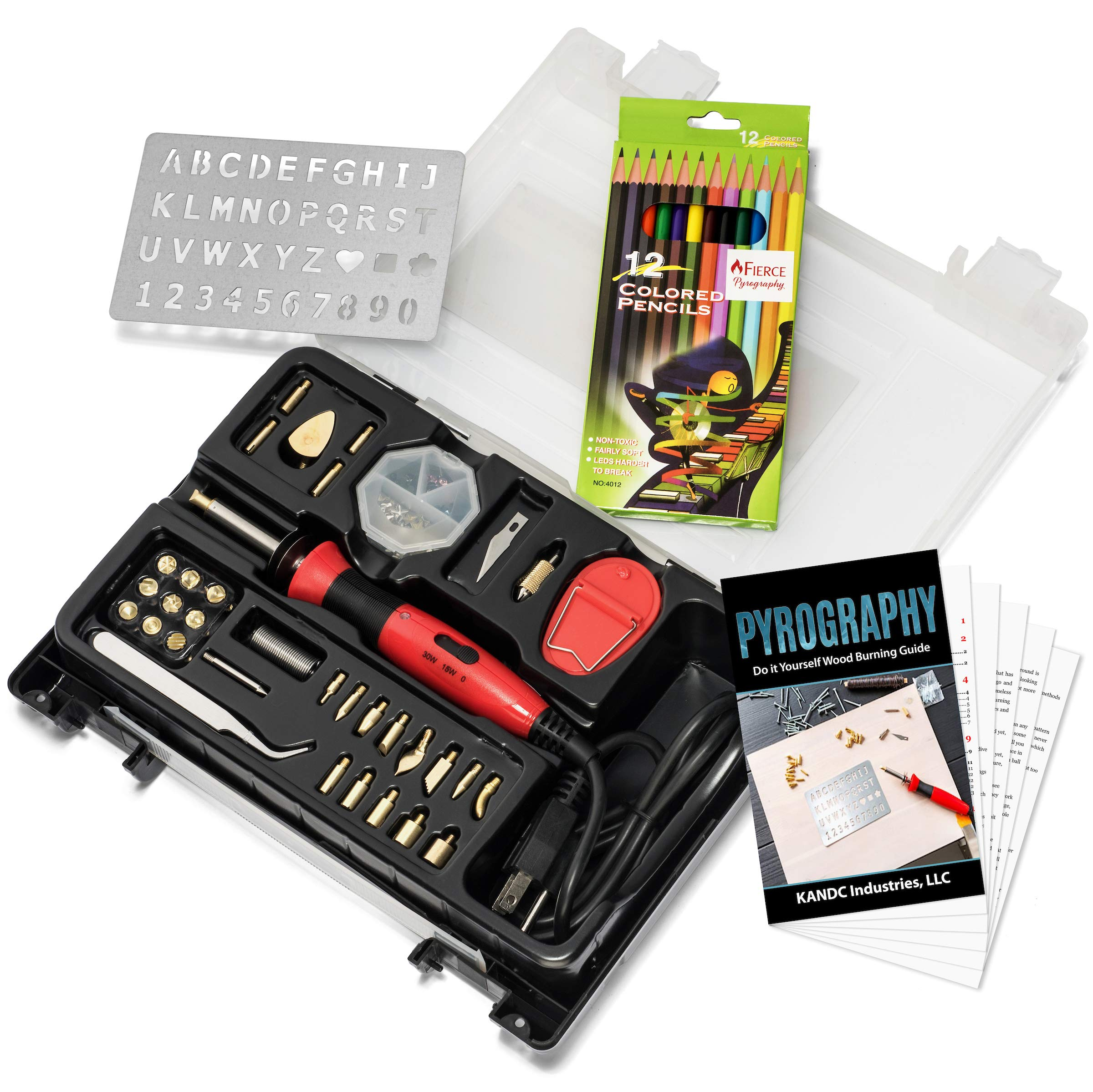 Fierce Pyrography Complete Wood Burning Kit Includes Dual Power Pen,Carving and Stamping Tips, Diamond Soldering Set, Coloring Pencils,Tweezers, Number Letter Stencil, Carry Case and Bonus Ebook