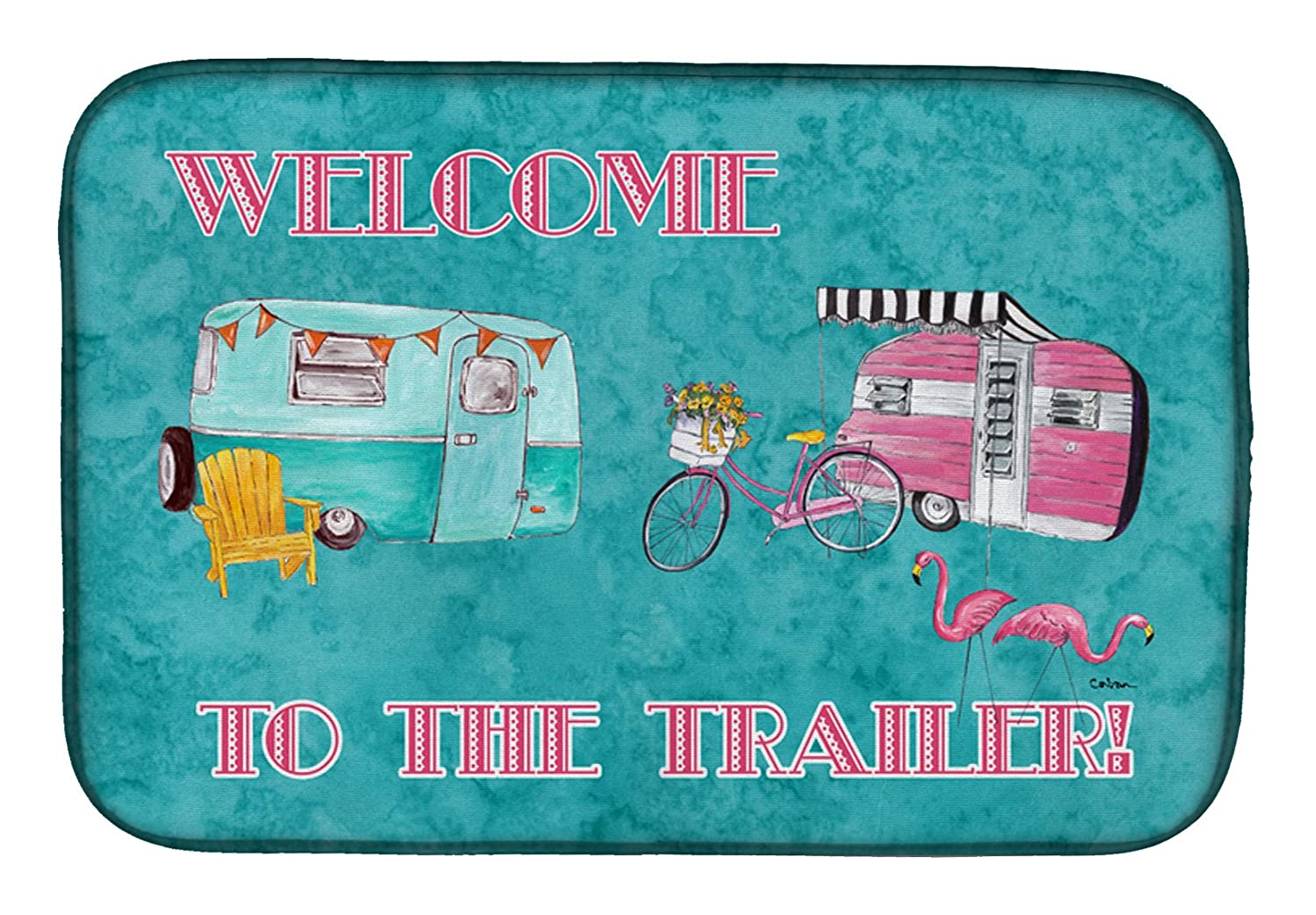 Caroline 's Treasures 8760ddm Welcome to the Trailerディッシュ乾燥マット、14