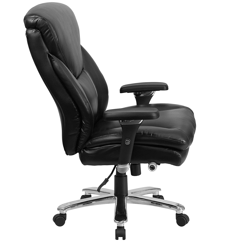 Amazing Amazon.com: Flash Furniture HERCULES Series 24/7 Intensive Use Big U0026 Tall  400 Lb. Rated Black Leather Executive Swivel Chair With Lumbar Knob:  Kitchen U0026 ...