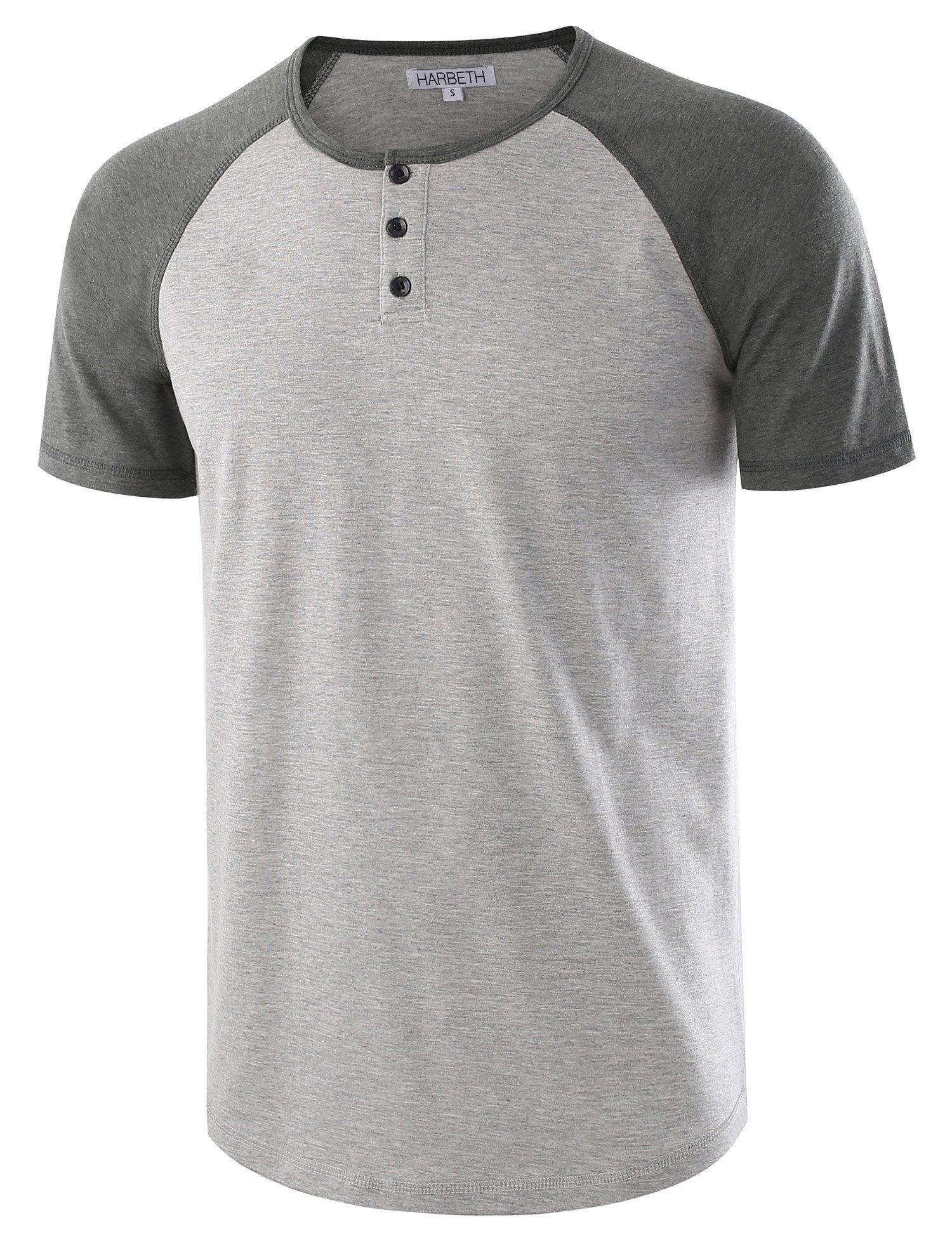 HARBETH Men's Casual Short Sleeve Henley Shirt Raglan Fit Baseball T-Shirts Tee H.Gray/S.Green L by HARBETH
