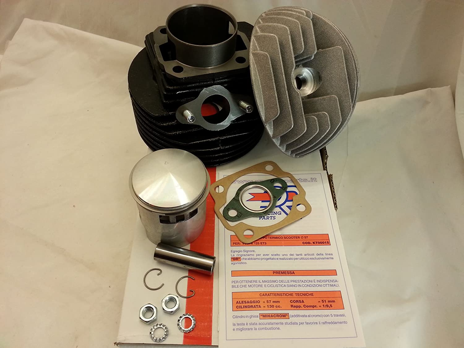 KIT GRUPPO TERMICO CILINDRO VESPA 50/125 DR130cc D.57 RMS