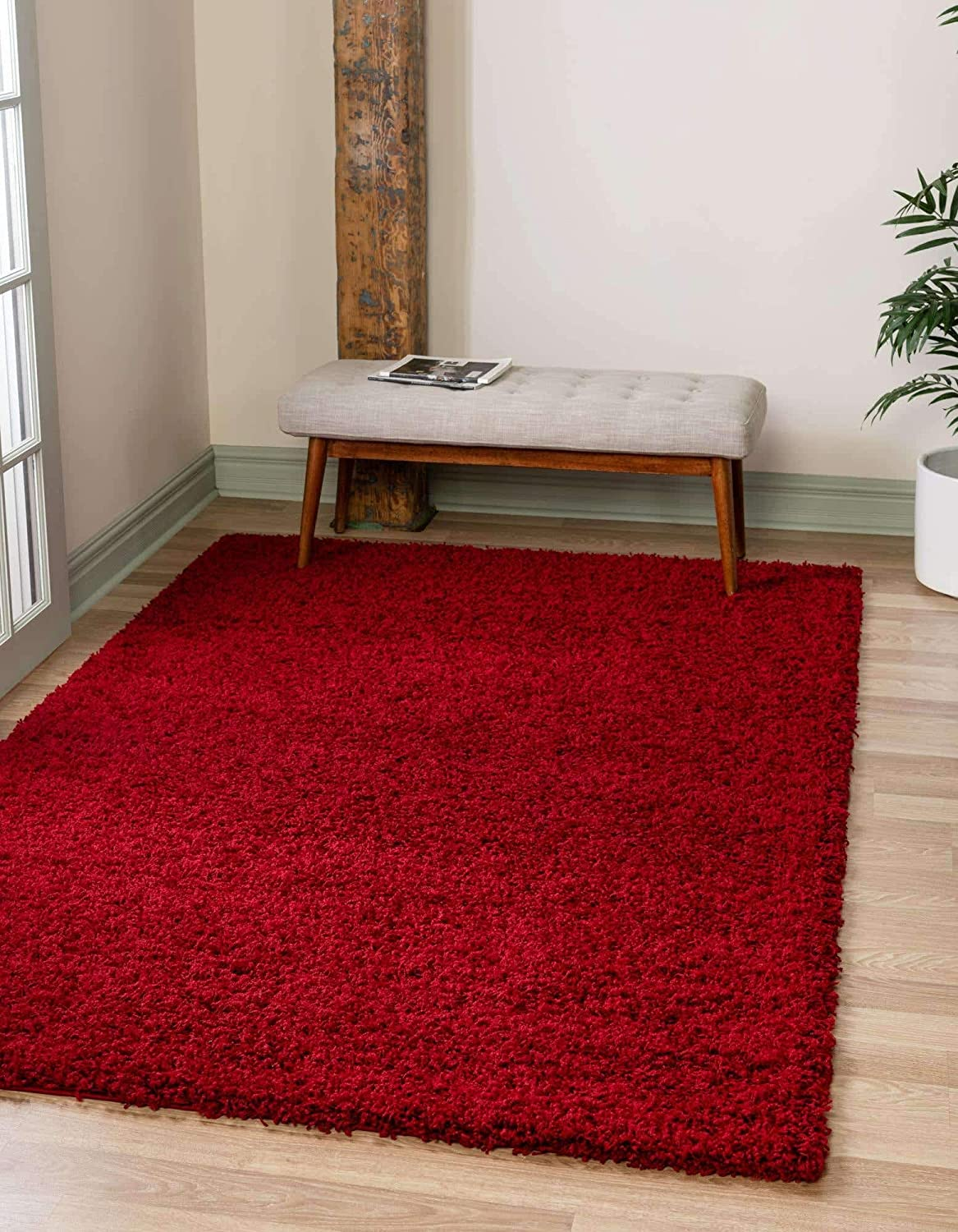 Unique Loom Solo Solid Shag Collection Modern Plush Cherry Red Area Rug (10' x 13')