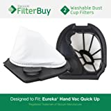 2 - Eureka Quick Up Washable Dust Cup DCF-11 Filters, Part #'s 39657, 62558A. Designed by FilterBuy to fit Eureka Vacuum Models 71C, 61, 70, 71, 61A, 71A, 70AX, 71A, 71AV, 71B, AG61A, UK61A, Z61A