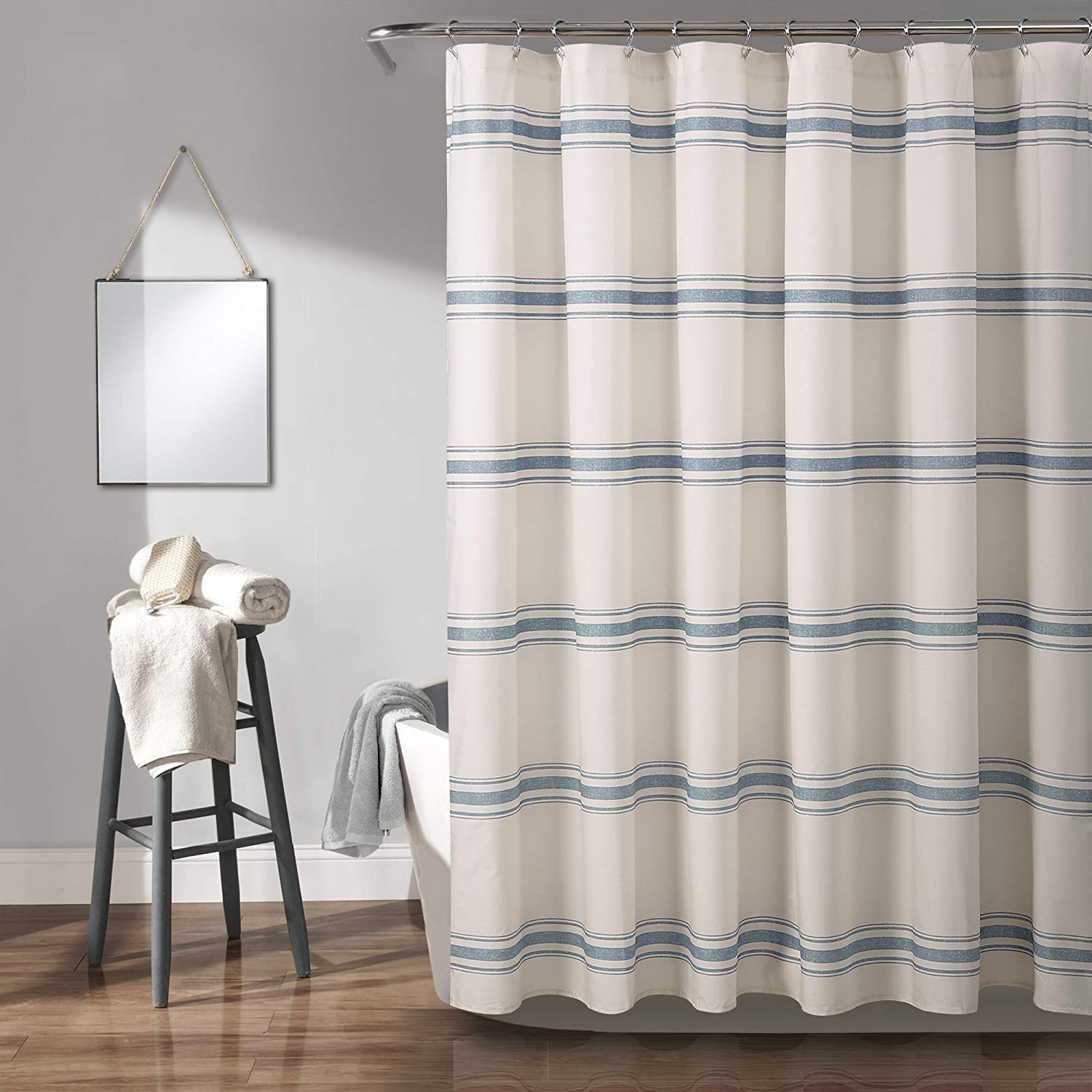 Lush Decor, Blue Farmhouse Stripe Shower Curtain, 72