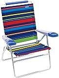 "Rio Beach 15"" Extended Height 4 Position Folding Beach Chair - Pop Surf Stripes"