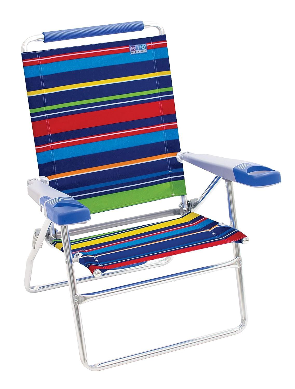 Rio Beach 15 Extended Height 4 Position Folding Beach Chair Pop Surf Stripes