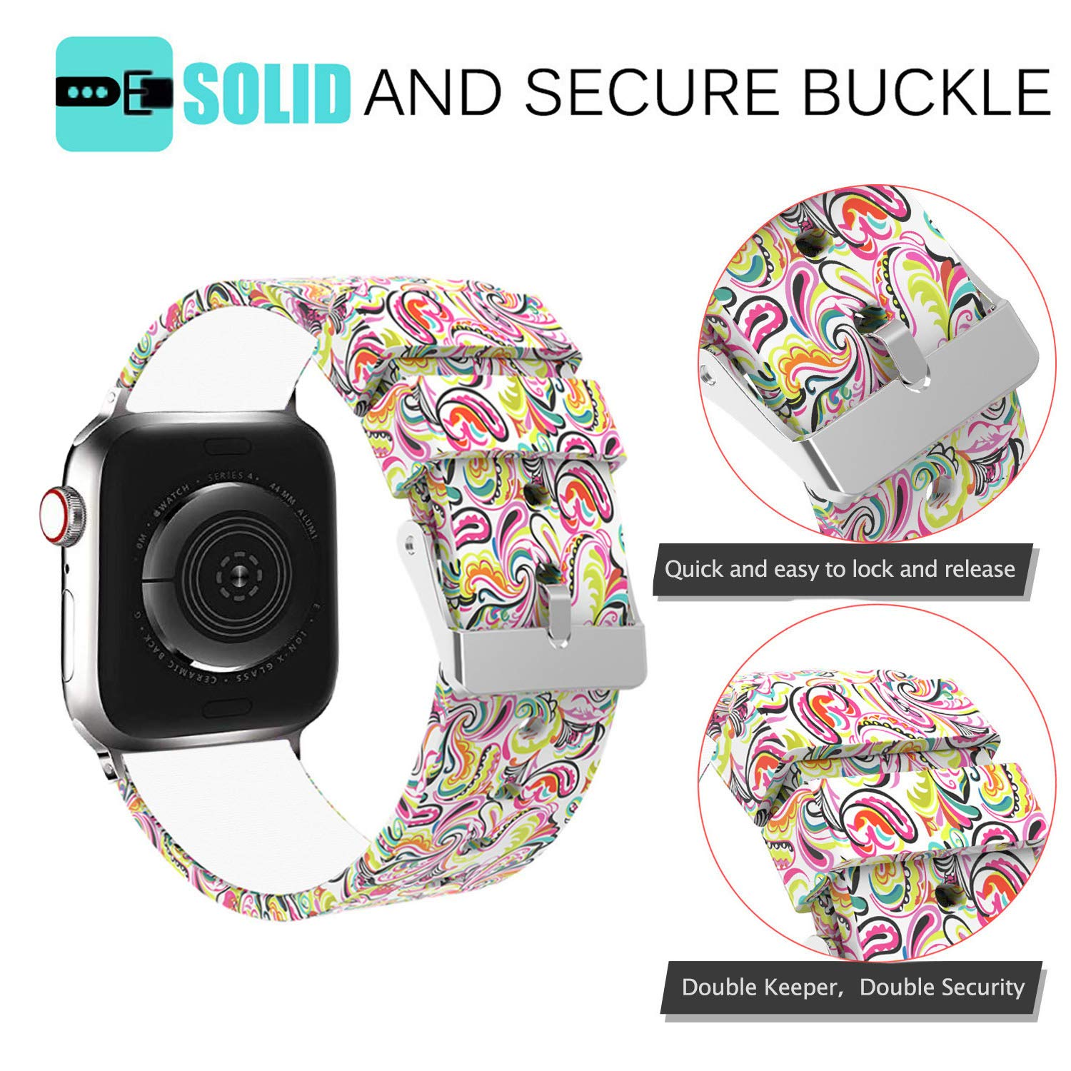 Antermart Compatible with Apple Watch Band 40mm 44mm, Replacement Silicone Sport Bracelet Strap Wristband Watchband for iwatch Series 4, Printed Pattern Designed for Men Women
