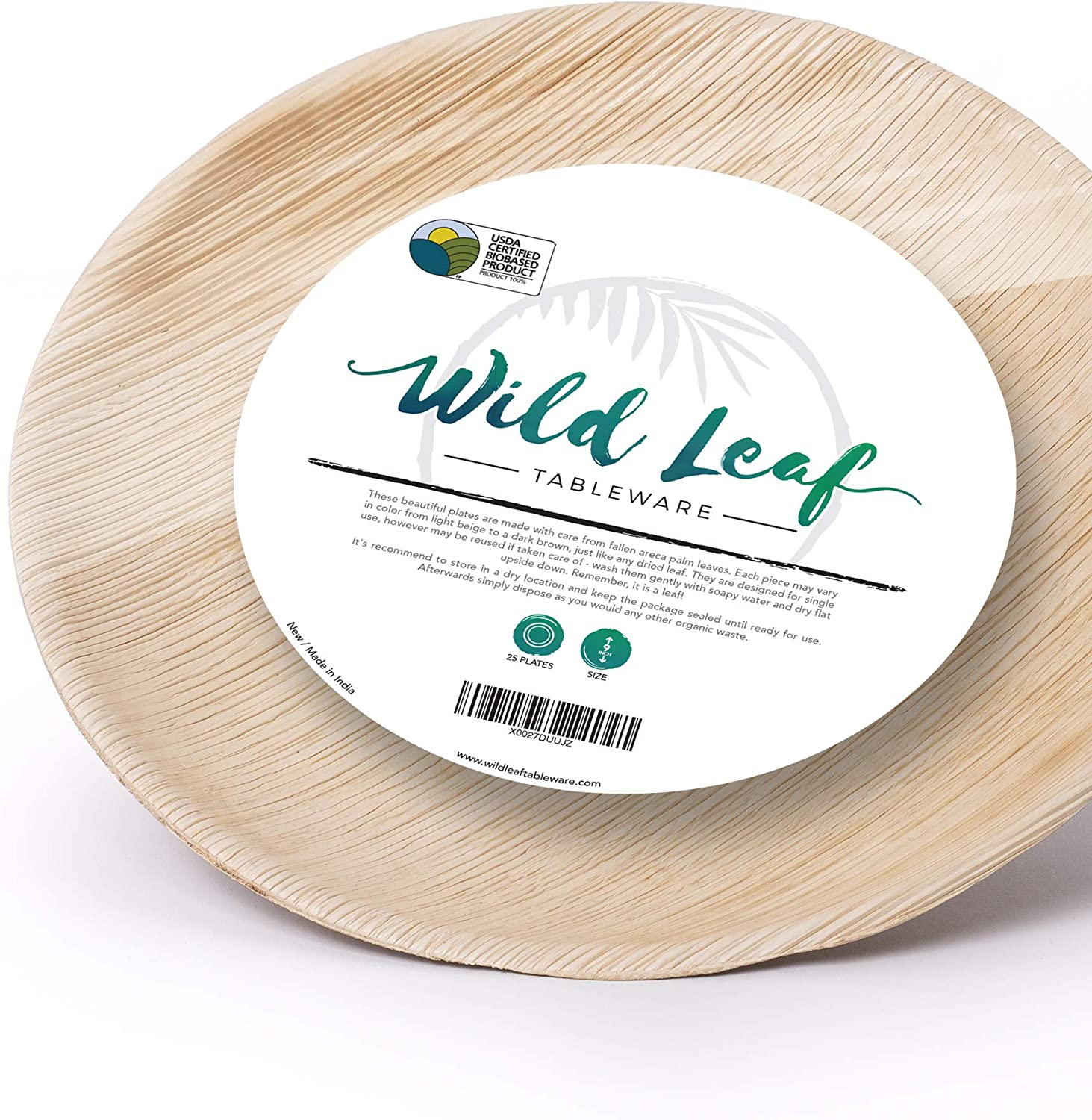 Wild Leaf Tableware Wooden Palm Leaf Plates - 9 Inch, Set of 25 Round Wood Plates - Elegant and Heavy Duty Upscale Disposable Dinnerware for Outdoor Parties, Picnics, BBQs