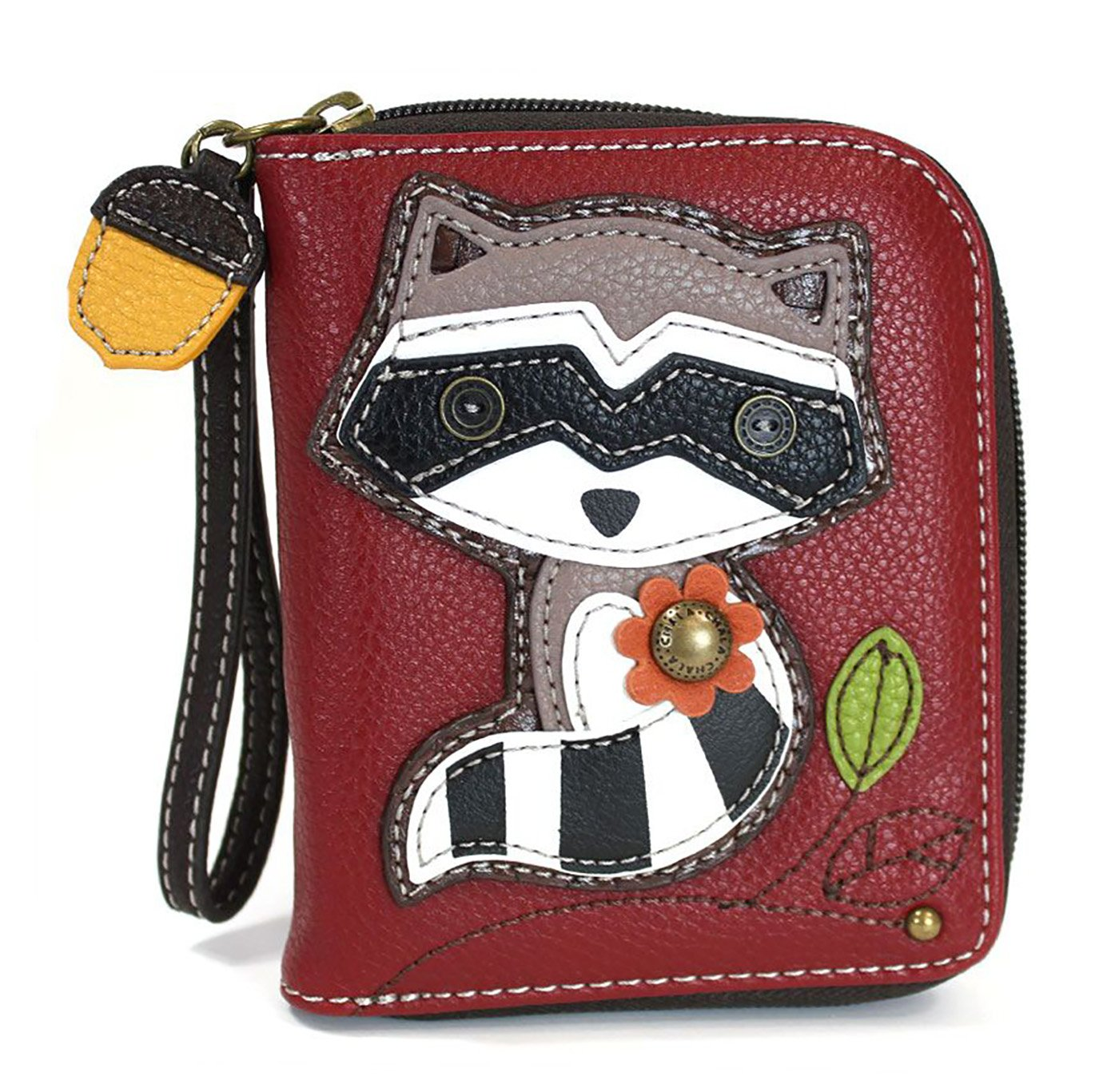 Chala Zip Around Wallet, Wristlet, 8 Credit Card Slots, Sturdy Pu Leather - Raccoon - Burgundy
