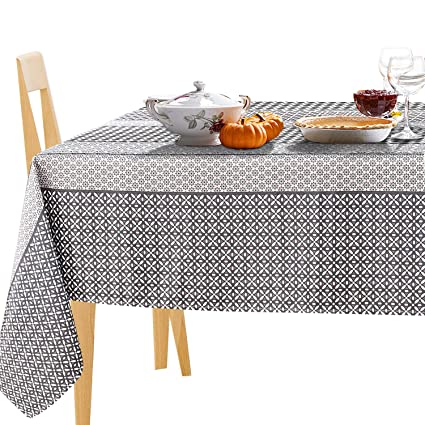 JIATER Floral Printed Table Cloth Spillproof Polyester Fabric Rectangle  Tablecloths (60 X 104, Coffee