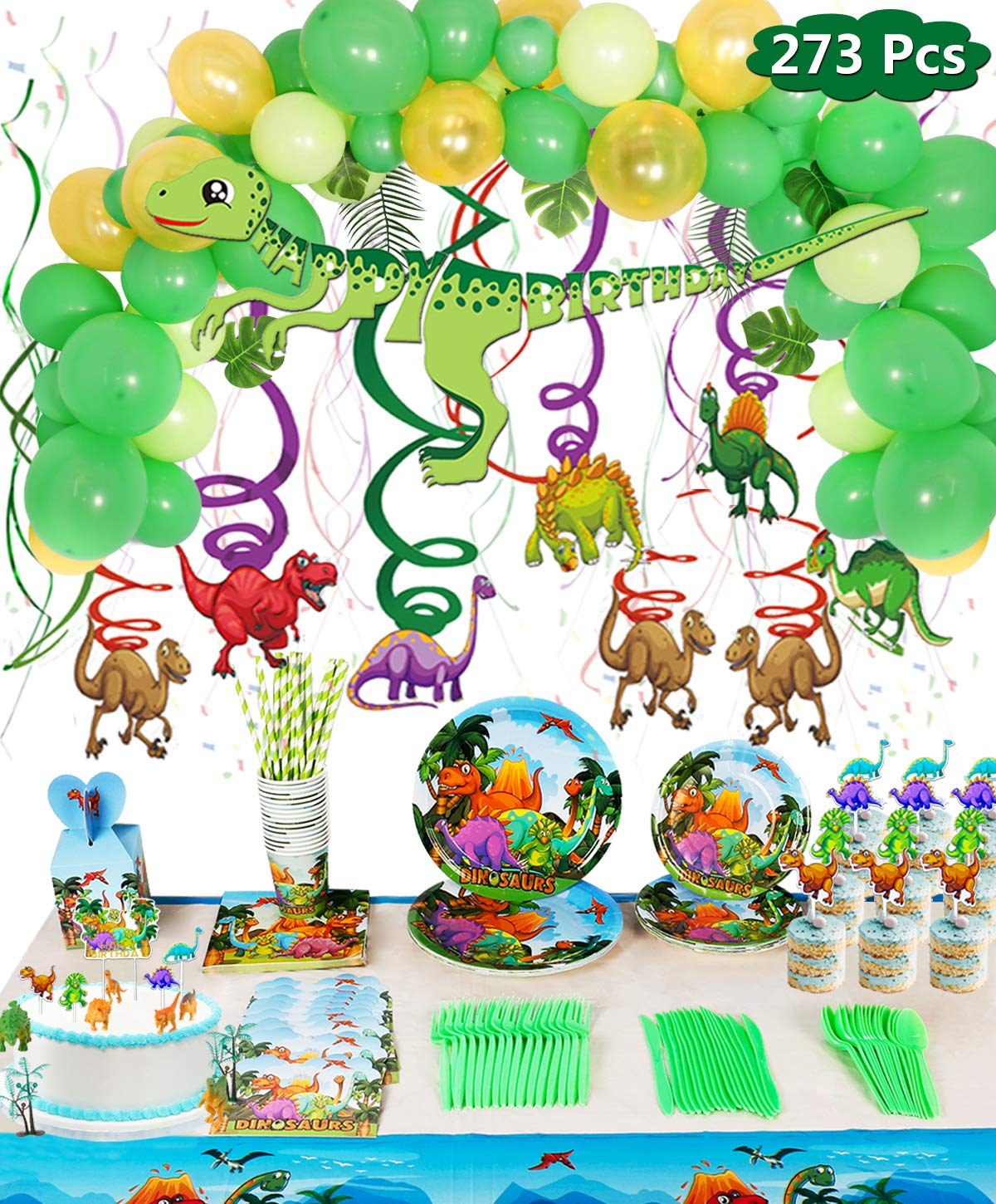273 Pack Dinosaur Party Supplies Set Serves 16, Dinosaur Birthday Favors Packs Includs Spoons, Plates, Tablecloth, Cups, Straws, Napkins, Invitation cards, Candy Box, Banner, Toys by Genovega