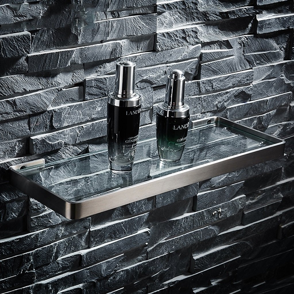 XY Soap dish Stainless Steel Brushed Glass WC Wall-hung Bathroom Toilet Cosmetic Storage Shelf 2.1cm 36.2cm 13.6cm