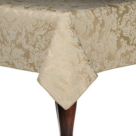 Ultimate Textile Miranda 70 X 144 Inch Rectangular Damask Tablecloth  Champagne Ivory Cream
