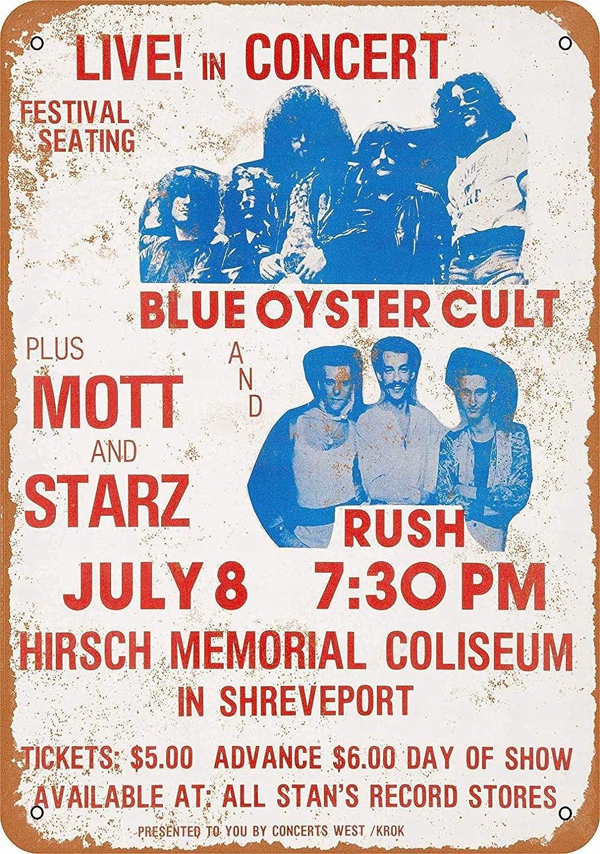 PixDecor 8 x 12 Metal Sign - Blue Oyster Cult Rush in Shreveport - Vintage Wall Decor Art Retro Metal Sign