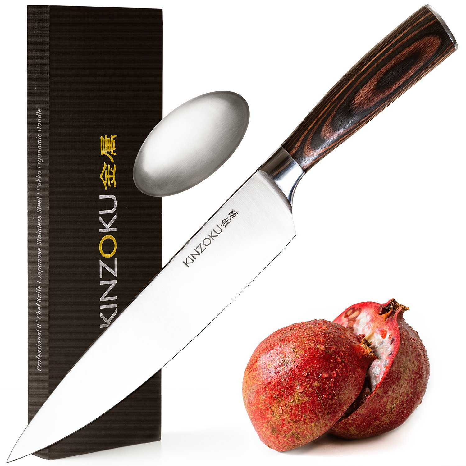 KINZOKU Professional Chef Knife 8 inch - Japanese Stainless Steel - Sharp Blade and Rust-Free Chopping Knife - Pakka Handle - Kitchen Knife and Odor Removing Soap - with Premium Gift Box