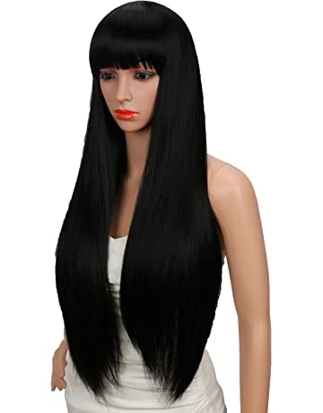 Kalyss 28 inches Women s Silky Long Straight Black Wig Heat Resistant  Synthetic Wig With Bangs Hair a6fb847c7f