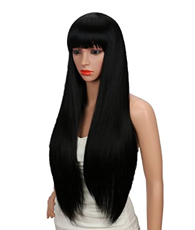 ADULT Ladies Long Black Straight Fringe WIG Halloween Costume Dress Up