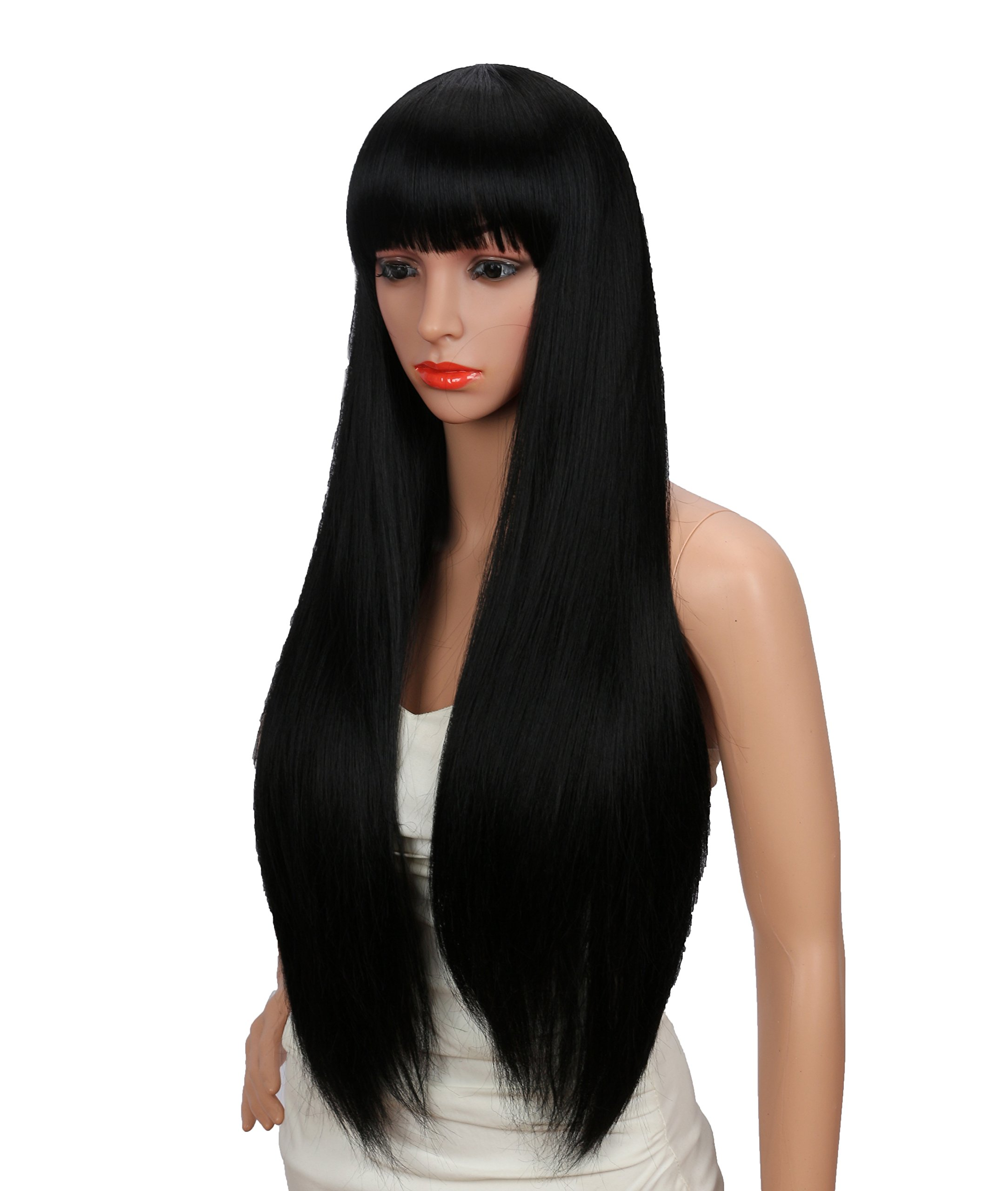 Kalyss 26 inches Women's Silky Long Straight Black Wig Heat Resistant Synthetic Wig With Bangs Hair Wig for Women