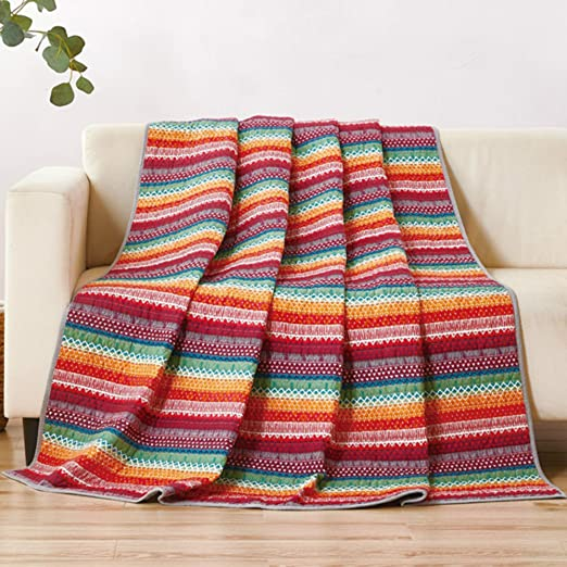 Asvert Quilt Tagesdecke 100/% Baumwolle Bett/überwurf Steppdecke Patchwork Bettdecke150 x 200 cm Rosa