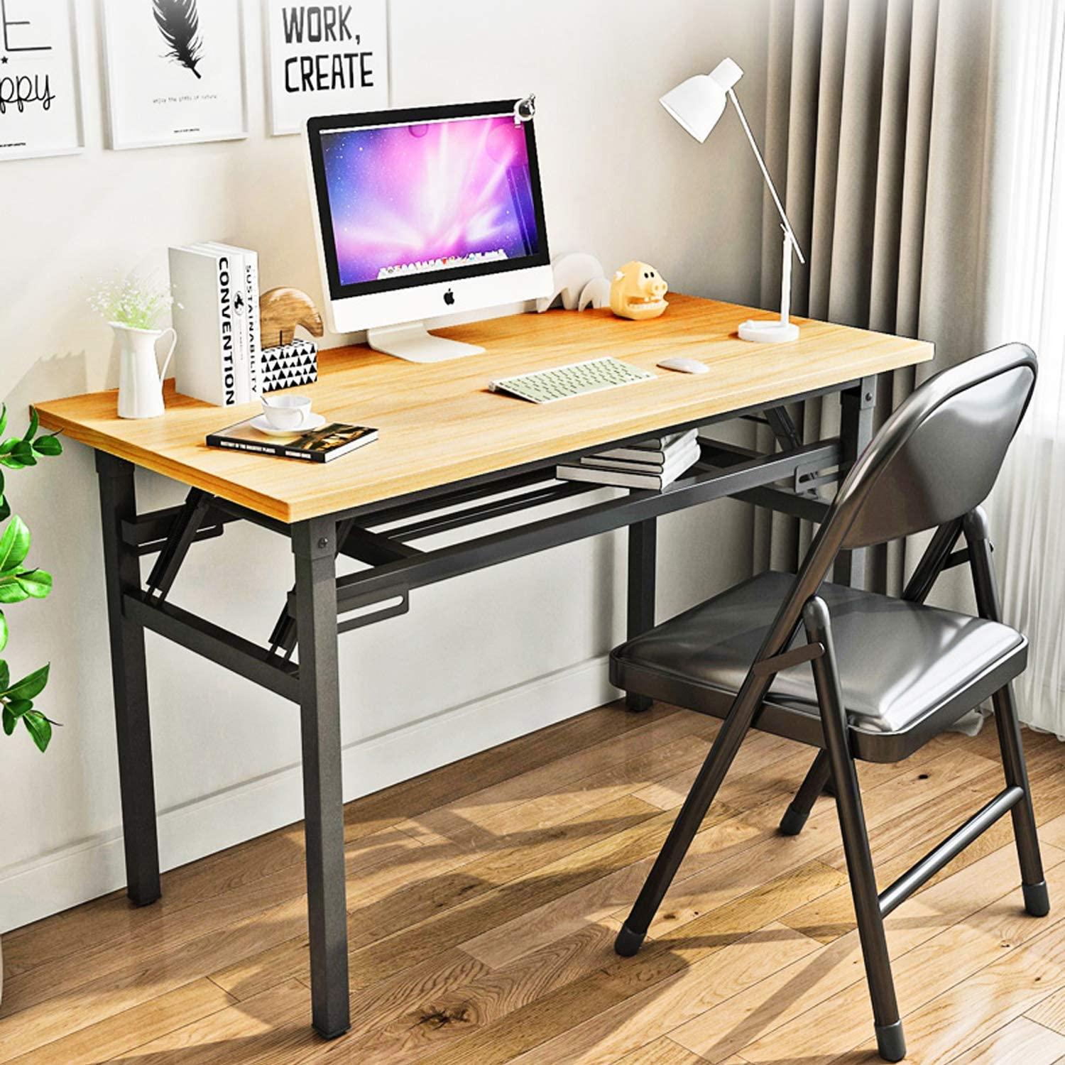 Portable Folding Computer Desk Table YJHome Foldable Student Writing Desk 31.5'' X 15.75'' X 29'' Brown Laptop Folding Desk No Assembly Required with Adjustable Legs for Small Space Home Office School