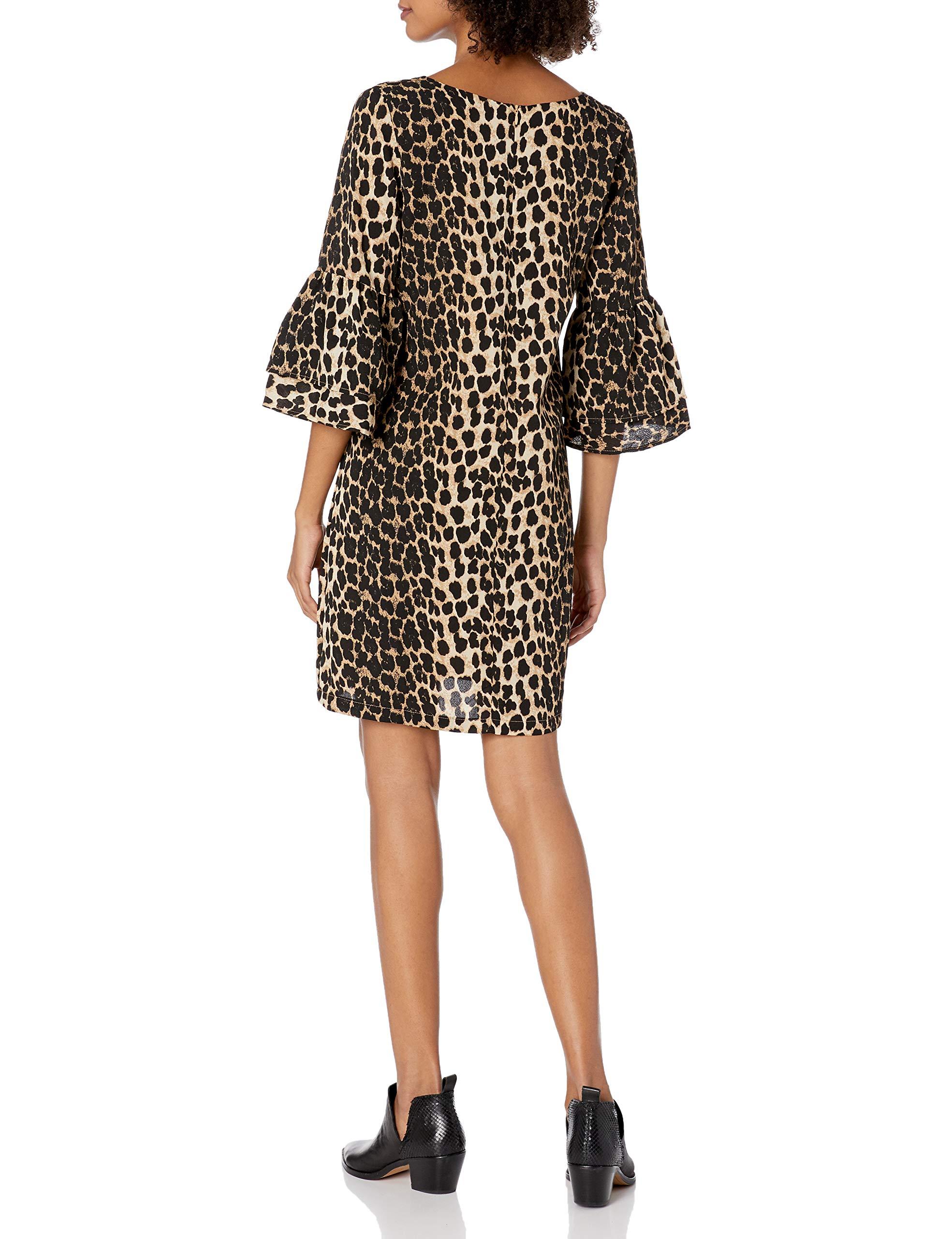 BELONGSCI-Womens-Dress-Sweet-Cute-V-Neck-Bell-Sleeve-Shift-Dress-Mini-Dress