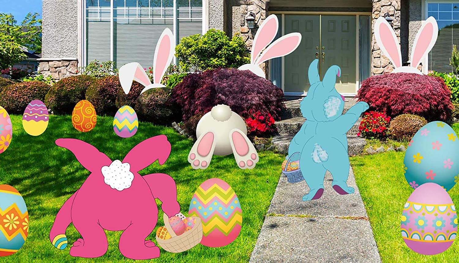MISS FANTASY 24PCS Easter Yard Signs Decorations, Chick and Eggs Yard Stake Signs, Outdoor Easter Bunny Egg Yard Stakes Large Easter Lawn Yard Decor Sign for Easter Egg Hunt Spring Party
