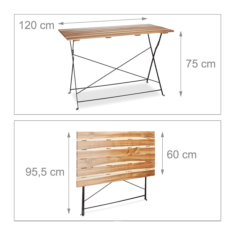 Relaxdays Grande table de jardin pliable HxlxP: 75 x 120 x 60 cm en ...