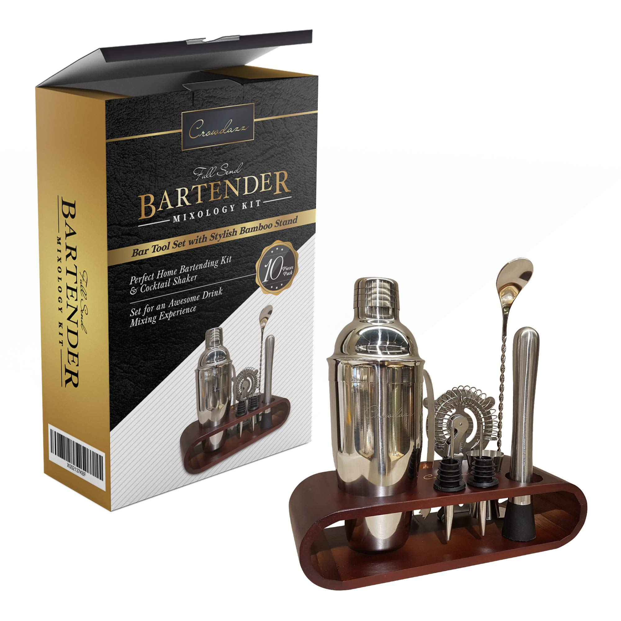 Bartender kit - cocktail shaker set by CROWDAZZ, supreme 10pcs bar tools for bartending. Highest quality mixology bartender kit with bamboo stand, mixology booklet. Shaker strainer jigger and more.