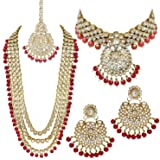 PEORA Traditional 18K Gold Plated Kundan Bead Wedding Necklace Jewellery Set for Women Girls
