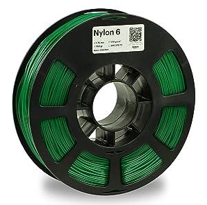 KODAK 3D printer filament NYLON 6 GREEN color, +/- 0.03 mm, 750g (1.6lbs) Spool, 1.75 mm. Lowest moisture premium filament in Vacuum Sealed Aluminum Ziploc bag. Fit Most FDM Printers