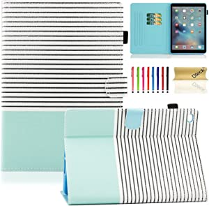 Dteck iPad Mini Case for iPad Mini 4 (Model A1538/A1550) - [Cute Cartoon] Flip Folio Stand Smart Auto Wake/Sleep Case with Card Slots for iPad Mini 4 7.9 iOS Tablet, Simple Stripe
