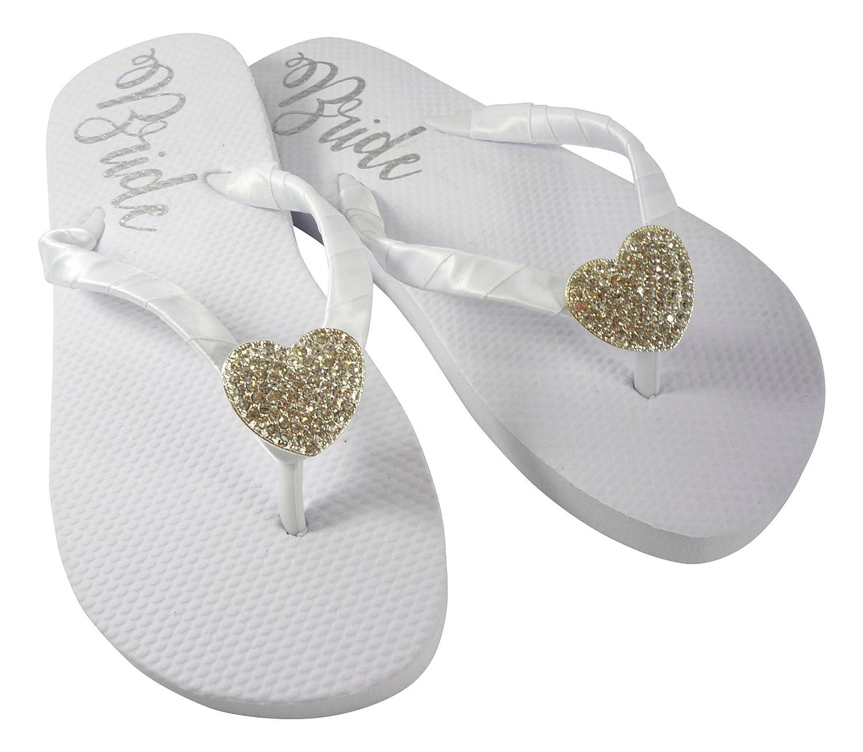 4fee8fae1e7 Amazon.com  Heart or Custom Embellishment Bride Sole Flat Wedding Flip Flops   Handmade