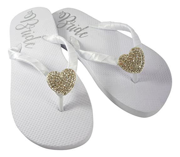 4ccdb3b458af42 Amazon.com  Heart or Custom Embellishment Bride Sole Flat Wedding Flip Flops   Handmade