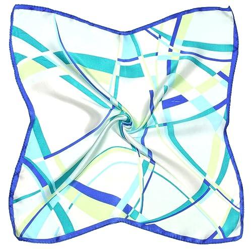 Bees Knees Fashion Sciarpa – Sciarpa Verde Blu Astratta Fine Seta Piccola Sciarpa Quadrata