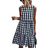 ECOWISH Women Dresses Plaid Sleeveless Summer Casual Sundress A Line Loose Swing T Shirt Gingham Mini Dress