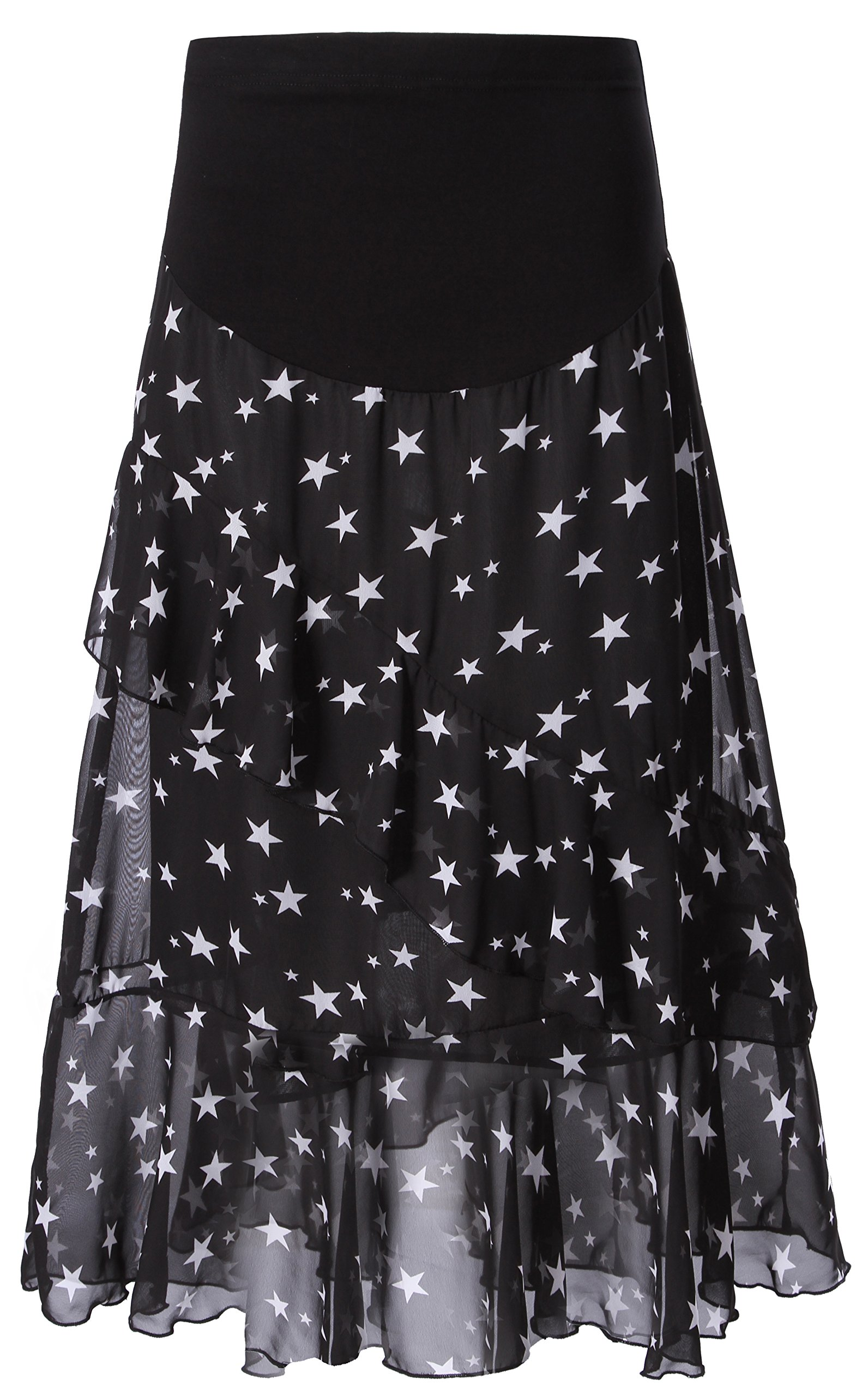 Foucome Over Belly Printed Maternity Skirt High Waist Flowy High Low Chiffon Skirt for Women Black