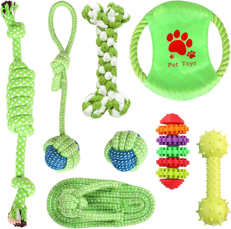 Simpeak Juguetes para Perros [8 Piezas], Juego de Juguetes para Perros para Cachorros y Perros pequeños, Juegos y diversión con la Mascota, Accesorios para Perros - Natural