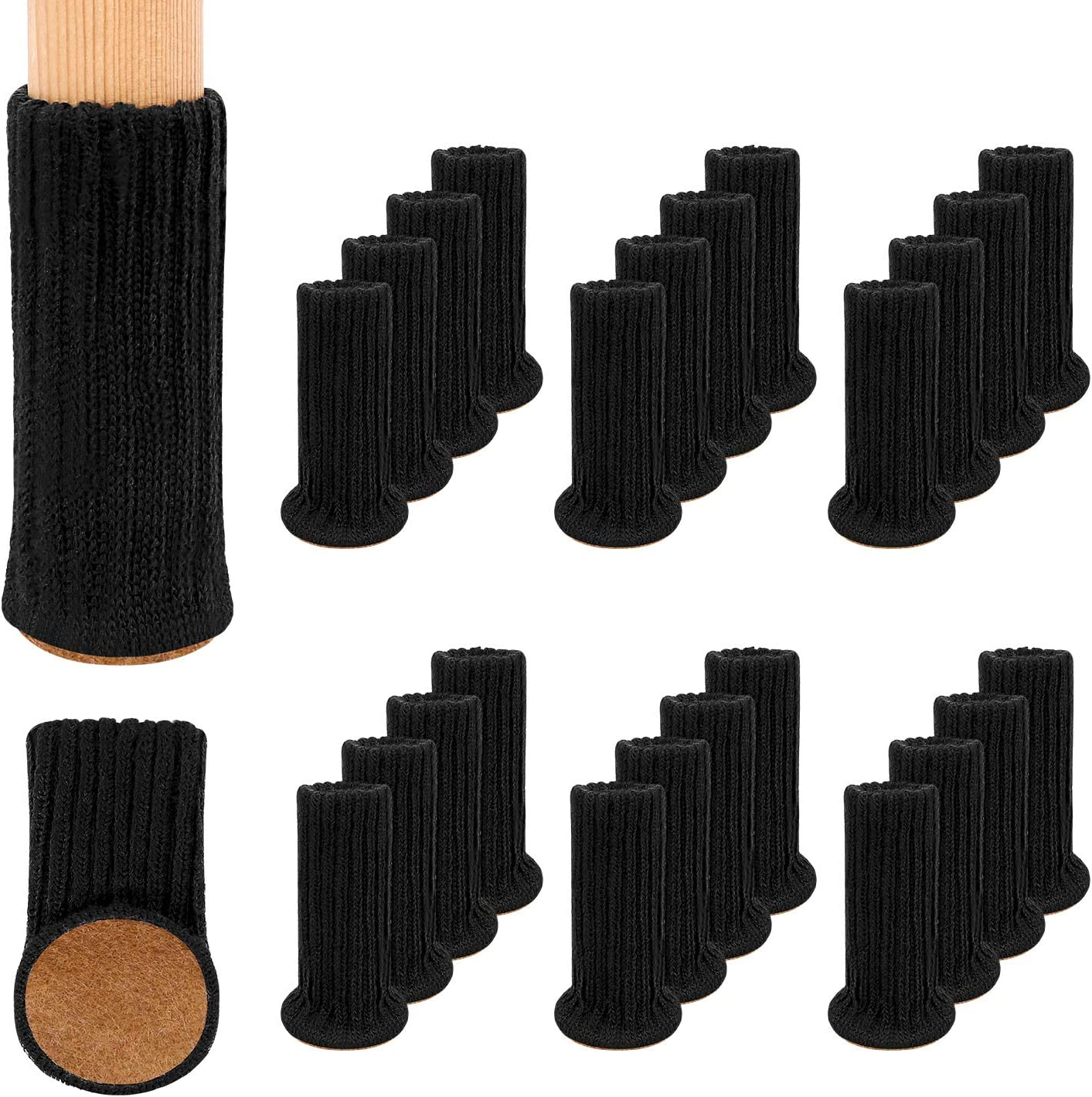 24Pack Furniture Leg Socks, High Elastic Knitted Chair Leg Floor Protectors, Fits All Shapes of Chair Legs with Diameter from 3/4 inch to 1-1/2 inch, Black