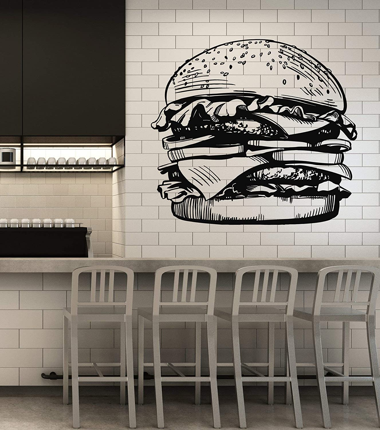 Vinyl Wall Decal Fast Food Cafe Restaurant Fresh Burger Stickers Mural Large Decor (g5080) Black