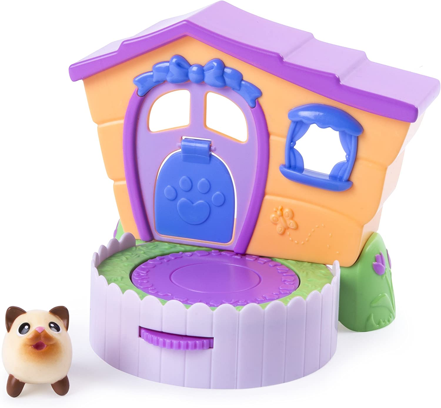 Chubby Puppies & Friends – 2-in 1 Flip N' Play House Playset with Siamese Kitty Collectible Figure