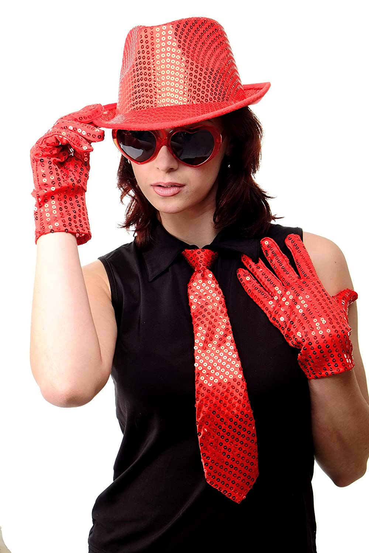 Cravatta Carnevale Revue Cabaret Paillette Larga Rosso VQ-020-RED DRESS ME UP