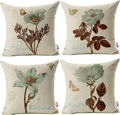 Amazon Com Monkeysell Pack Of 4 Lotus Leaf Butterfly Flowers Pattern Cotton Linen Throw Pillow Case Boho Floral Printed Pillow Cushion Cover Home Sofa Decorative 18 X 18 Inch Cushion Cover Home Kitchen