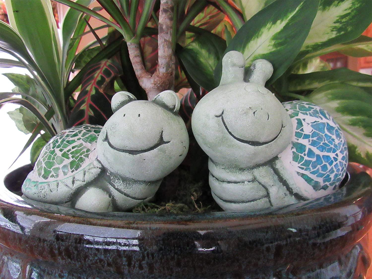 Turtle Garden Ornaments Statue, Flower Bed Decor, Outdoor Statues Decor for Home Snail Figurines Resin Sculptures for Pond, Lawn, Yard, Garden Sculpture Front Porch Decorations Outdoor (Set of 2)
