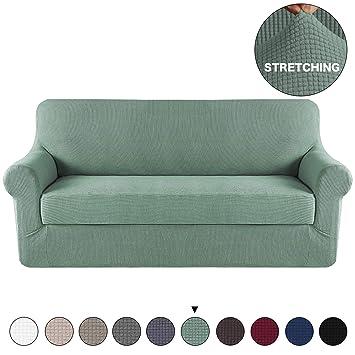 Amazon.com: Funda de sofá de 2 piezas con funda de cojín ...