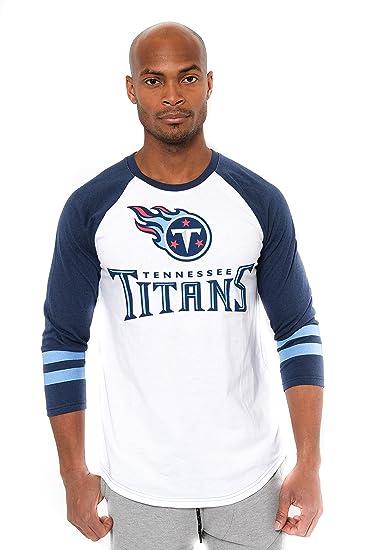 a526867f Ultra Game NFL Tennessee Titans Men's T Raglan Baseball 3/4 Long Sleeve Tee  Shirt, White, Small