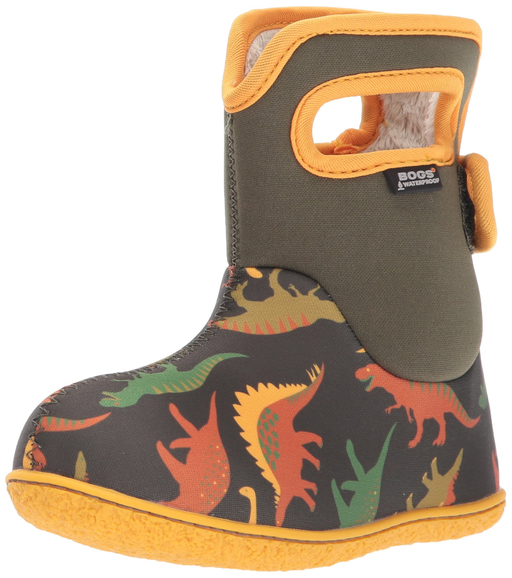 Bogs Baby Bogs Waterproof Insulated Toddler/Kids Rain Boots for Boys and Girls, Dino Print/Moss/Multi, 6 M US Toddler