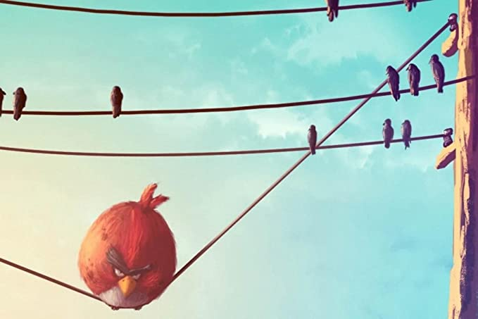 RED ANGRY BIRD ON TELEPHONE WIRE A1 CANVAS ART PRINT POSTER 25% SALE ...