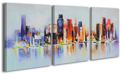 100% LABOR A MANO + certificado / 135x60 cm / Manhattan / El cuadro dibujado con pinturas acrílicas ...