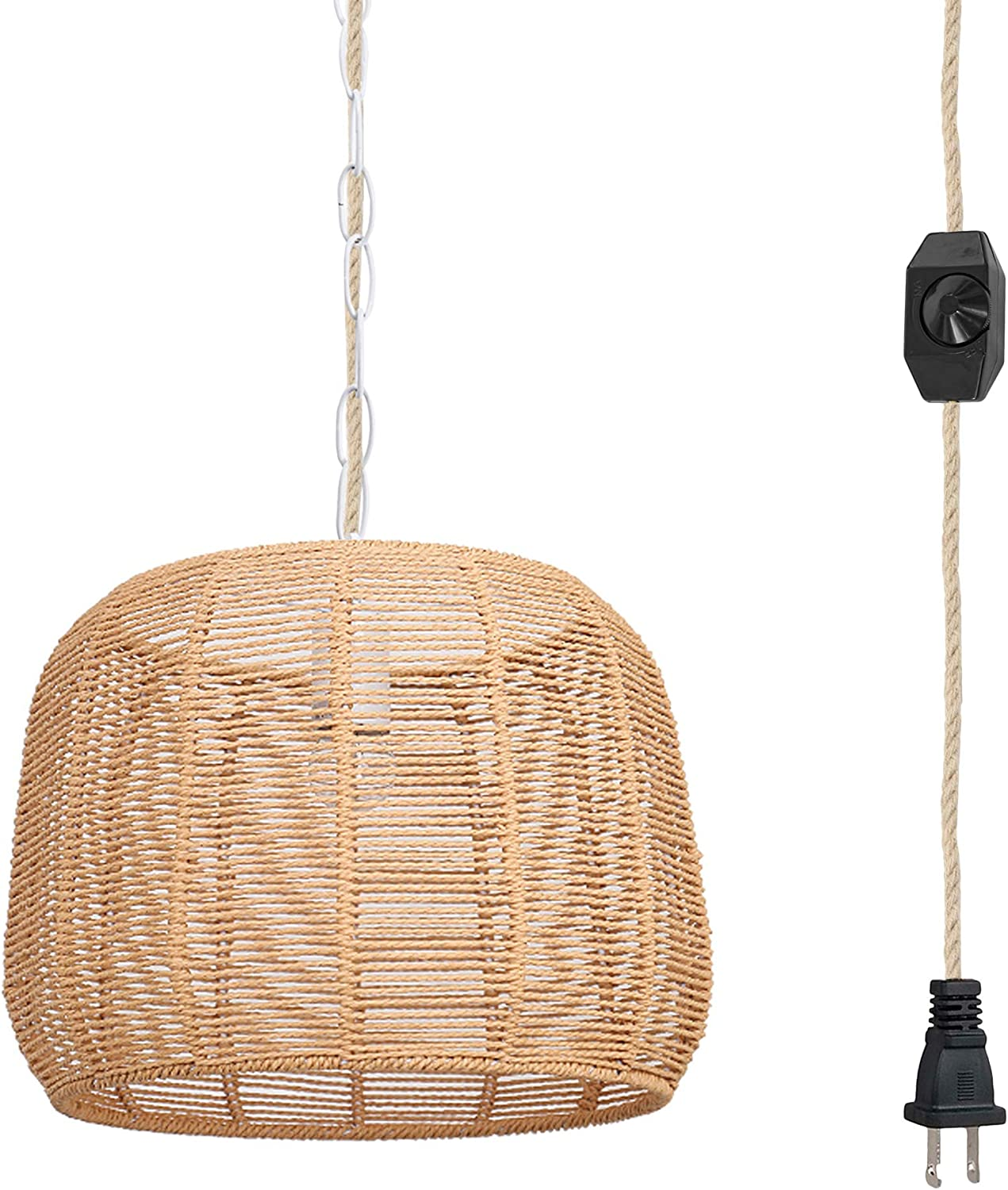 Hanging Swag Ceiling Lamp Twine Natural Rattan Lampshade No Wiring Needed Portable Pendant Light with 20ft Plug-in Iron Chain Rope Cord Dimmable Farmhouse Chandelier Instant on Swag Lamp,Customizable