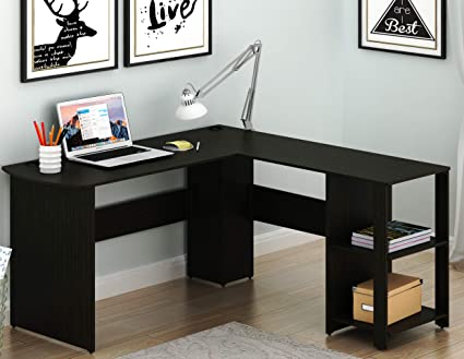 Great SHW L Shaped Home Office Corner Desk Wood Top, Espresso